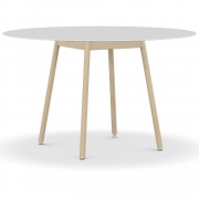 Kristalia - BCN Tisch Ø 78 cm | Laminat Pure-white Weiß | Buche Natur