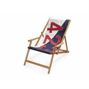 727 Sailbags - Deck Chair with Armrests Bicolored / Blue. No.. 423 Red