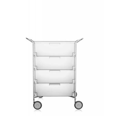 Kartell - Mobil Rollcontainer mit Griffen 4 Schubladen | Eisfarben