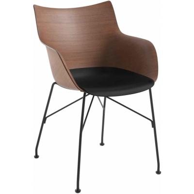 Kartell - Q/Wood Armchair Dark Veneer / Black