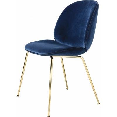 Gubi - Beetle Dining Chair Velvet Upholstery Velluto 420/Brass