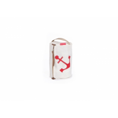 360 Grad - Tonne Kosmetikbeutel rund Weiß / Anker Rot