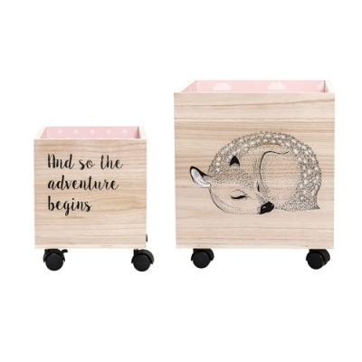 Bloomingville - Child Storage Box 3 Spielzeugkiste mit Rollen