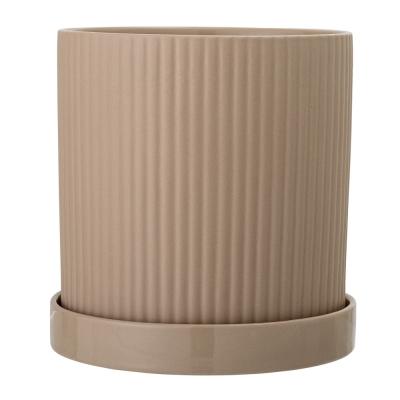Bloomingville - Flowerpot w/Saucer Brown Stoneware