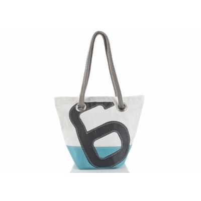 727 Sailbags - Legende Handtasche Dacron Colored Hellblau. No. 6 Grau