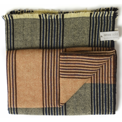Ames - Mulera Woolen Blanket Blue/Black/Orange