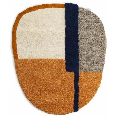 Ames - Nudo Teppich 190 x 160 cm | Blau/Orange/Ocker