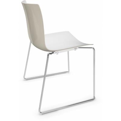 Arper - Catifa 46 0278 Sled Base Chair bicoloured White-Ivory | Chrome