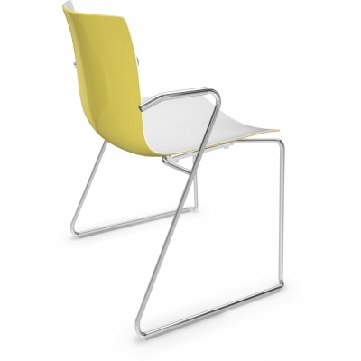 Arper - Catifa 46 0287 Technical Sled Base Chair bicoloured White-Yellow