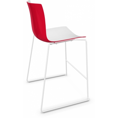 Arper - Catifa 46 0474 Barhocker zweifarbig H 64cm Weiß-Rot   Weiß