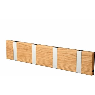 LoCa - Knax Garderobenleiste Holz 4 Haken Eiche geölt   Grau