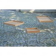 Jan Kurtz - Pizzo Side Table Teak Stainless Steel open 40 x 40 cm x H 52 cm