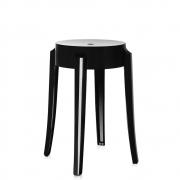 Kartell - Charles Ghost stool 46 cm   Black shiny