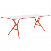 Kartell - Spoon Table Tisch 200 x 90 cm   Weiß-Orange