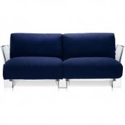 Kartell - Pop Outdoor 2er Sofa Sunbrella Blau   Transparent