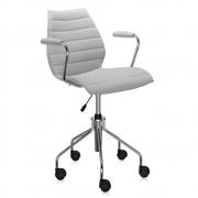 Kartell - Maui chaise de bureau avec accoudoirs doux Trevira Beige