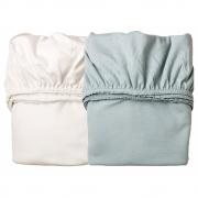 Leander - Draps pour berceau (2 pcs.) Blanc / Misty Blue