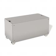 Bettkasten für Stapelliege Komforthöhe mit Rollen 93 cm | Weißaluminium RAL 9006