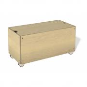 Bettkasten für Stapelliege Komforthöhe mit Rollen 103 cm | Birke natur lackiert