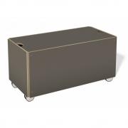 Bettkasten für Stapelliege Komforthöhe mit Rollen 93 cm | CPL Anthrazit mit Birkenkante