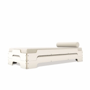 Müller Möbel - Stacking Bed Set with Slatted Frame rollable and Mattress 90 x 200 x H 27 cm | CPL White with Birch Edge