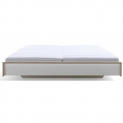 Müller Möbel - Flai Double Bed 180 x 220 cm | CPL White With Birch Edge | without Head Part