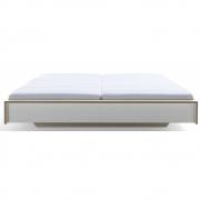 Flai Doppelbett 180 x 200 cm | CPL Weiß mit Birkenkante | ohne Kopfteil