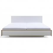 Flai Doppelbett 180 x 200 cm | CPL Weiß mit Birkenkante | mit Kopfteil