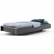 Müller Möbel - Flai Single Bed 100 x 200 cm | CPL Anthracite With Birch Edge | without Head Part