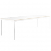 Muuto - Base Tisch mit Holzkante 190 x 85 cm | Weiß (Laminat)