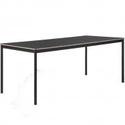 Muuto - Base Tisch mit Holzkante 190 x 85 cm | Schwarz (Linoleum)