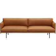 Muuto - Outline 3-Sitzer Sofa Leder Cognac
