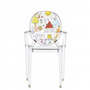 Kartell - Lou Lou Ghost Stuhl mit Muster Glasklar - Zeichnung