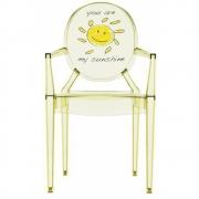Kartell - Lou Lou Ghost Stuhl mit Muster Gelb - Sonne
