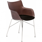 Kartell - Q/Wood Armchair Dark Ash / Chrome