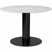 Gubi - 2.0 Esstisch rund 110 cm - Marmor Weiß   Schwarz