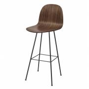 Gubi - 2D Bar Stool with Backrest Walnut