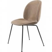 Gubi - Beetle Dining Chair Cadeira com almofada de veludo Velluto 208 - Piping Luce 18 (Moldura: Preto)