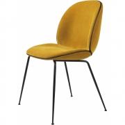 Gubi - Beetle Dining Chair Cadeira com almofada de veludo Velluto 312 - Piping Couro Preto (Moldura: Preto)