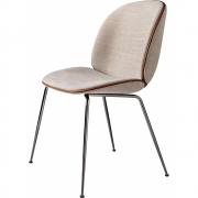 Gubi - Beetle Dining Chair Com Almofada Suporte Preto Cromado