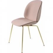 Gubi - Beetle Dining Chair Com Almofada Na Frente Doce Steelcut2 Rosa 605 / Latão