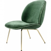 Gubi - Beetle Lounge Chair Samtpolster Velluto 234 - Biese Velluto 110 (Gestell: Messing)