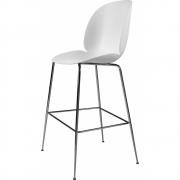 Gubi - Beetle Bar Chair Banco de bar Puro branco   Preto cromado