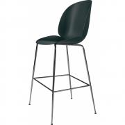 Gubi - Tabouret de bar Beetle Bar Chair Vert | Chromé noir