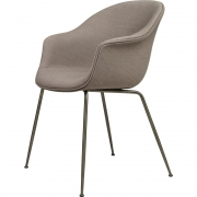 Gubi - Bat Dining Chair Cadeira estofada moldura antiga de latão Castanho escuro Crisp
