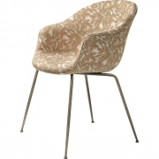 Gubi - Bat Dining Chair Fully Upholstered Antique Brass Base