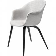 Gubi - Bat Dining Chair Fully Upholstered Wood Base Grey Patchwork