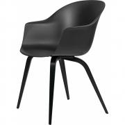 Gubi - Bat Dining Chair Un-Upholstered Black Beech