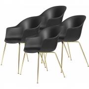 Gubi - Bat Dining Chair Cadeira de latão sem estofos (conjunto de 4) Preto