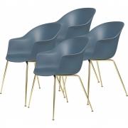 Gubi - Bat Dining Chair Un-Upholstered brass (4er Set)